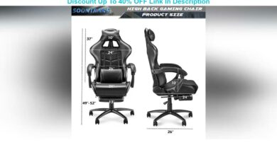 Flash Sale Soontrans Massage Black Gaming Chair for Large Person,Big&Tall Rolling Chair,Large Size